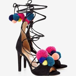*NEW* EXPRESS Multicolor Pom-Pom Lace-Up Heels